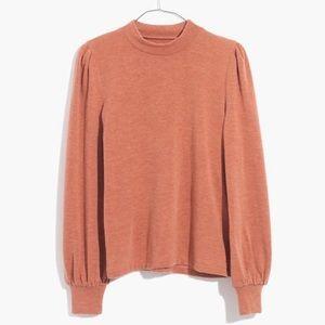 Madewell puff sleeve mock neck sweater top